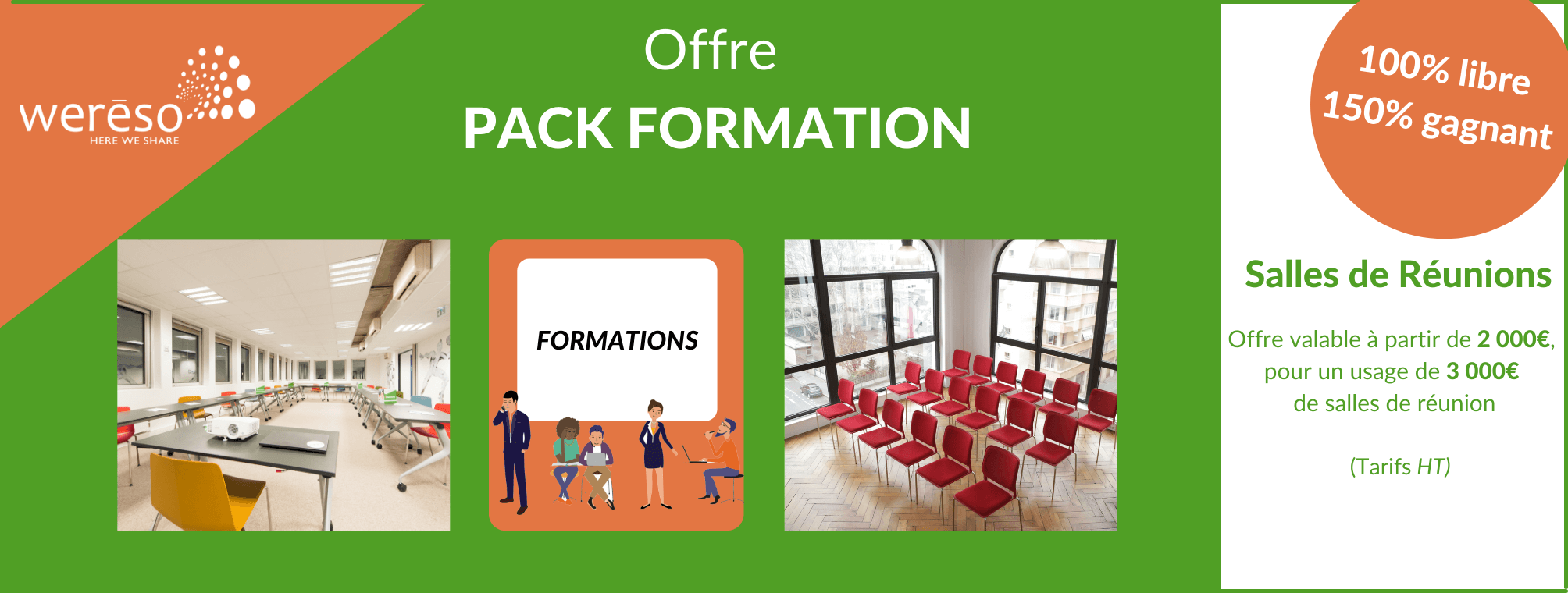 Offre PACK FORMATION : 100% libre, 150% gagnant